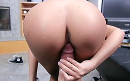 Passionate babe starts stuffing her little hole with a huge boner
