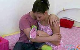 Screen shot from a teen porno film