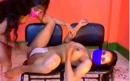 Desi babe boob pressing massage by lesbian girlfriend