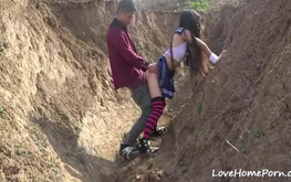 Extremely hot and kinky girl fucked outdoors